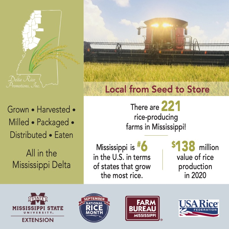 DRP National Rice Month graphic with facts on Mississippi-grown rice