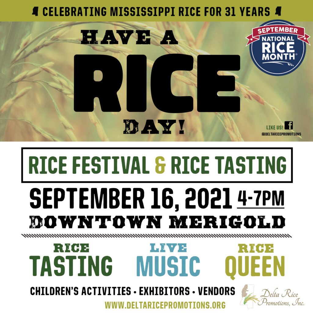 Delta Rice Festival graphic advertising the date and location, as well as events